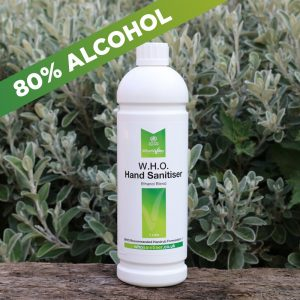 80% Alcohol WHO hand sanitiser 1ltr