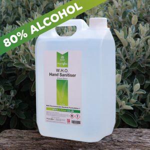 80% Alcohol WHO hand sanitiser 5ltr
